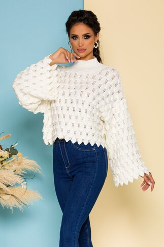 Bluza Meize ivoire tricotata cu design deosebit