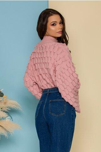 Bluza Meize roz prafuit tricotata cu design deosebit