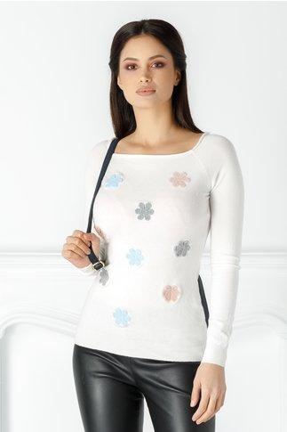 Bluza Mella alba cu floricele brodate