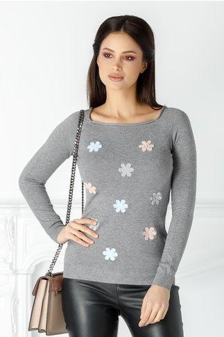 Bluza Mella gri cu floricele brodate