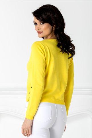 Bluza Melly galbena cu capse aurii pe laterale