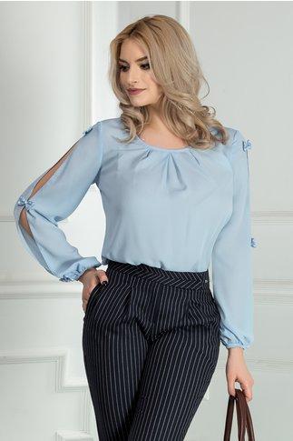Bluza Mia bleu din voal cu funde maneci