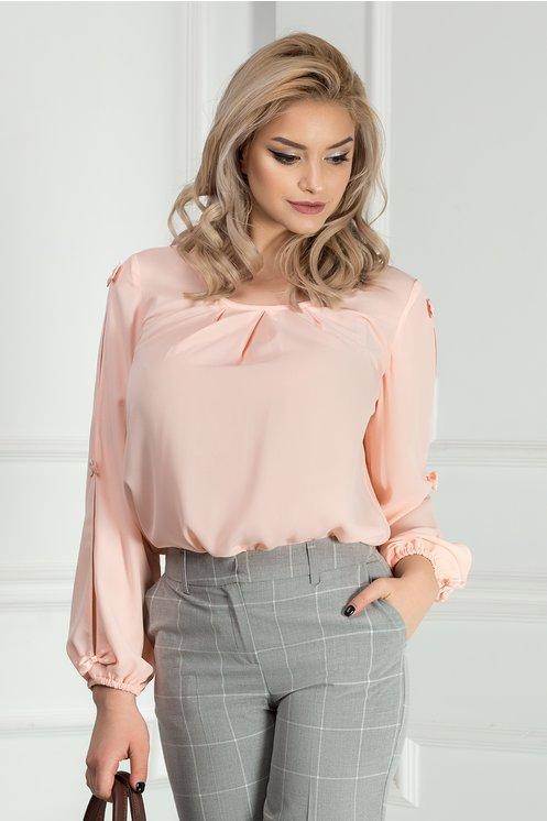 Bluza Mia roz din voal cu funde maneci