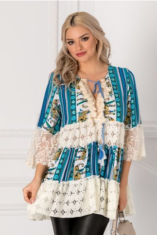 Bluza Miha alba cu imprimeuri albastre si insertii din dantela