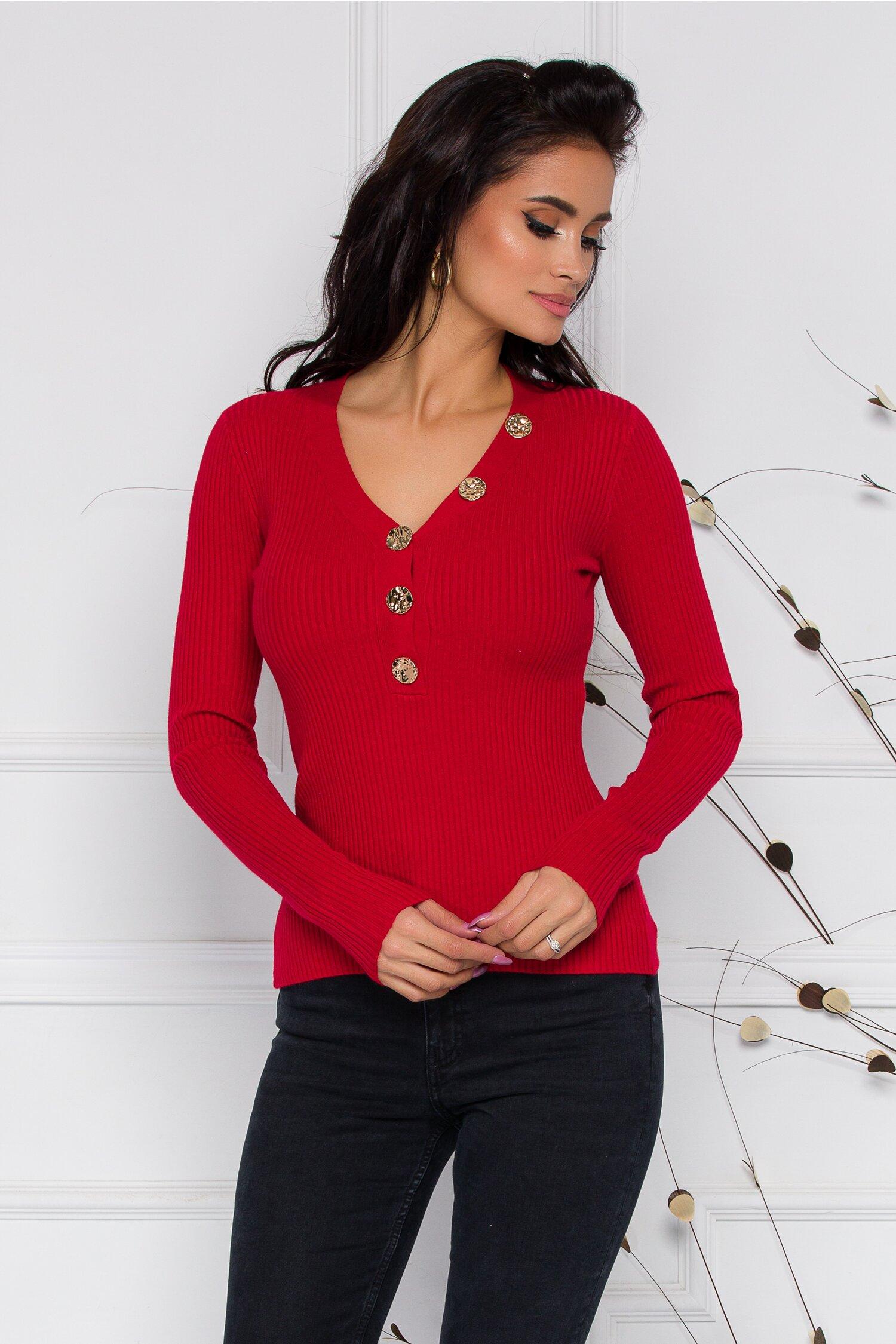 Bluza Mihaela rosie cu nasturi aurii