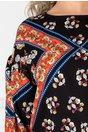 Bluza Mikky neagra cu imprimeu floral