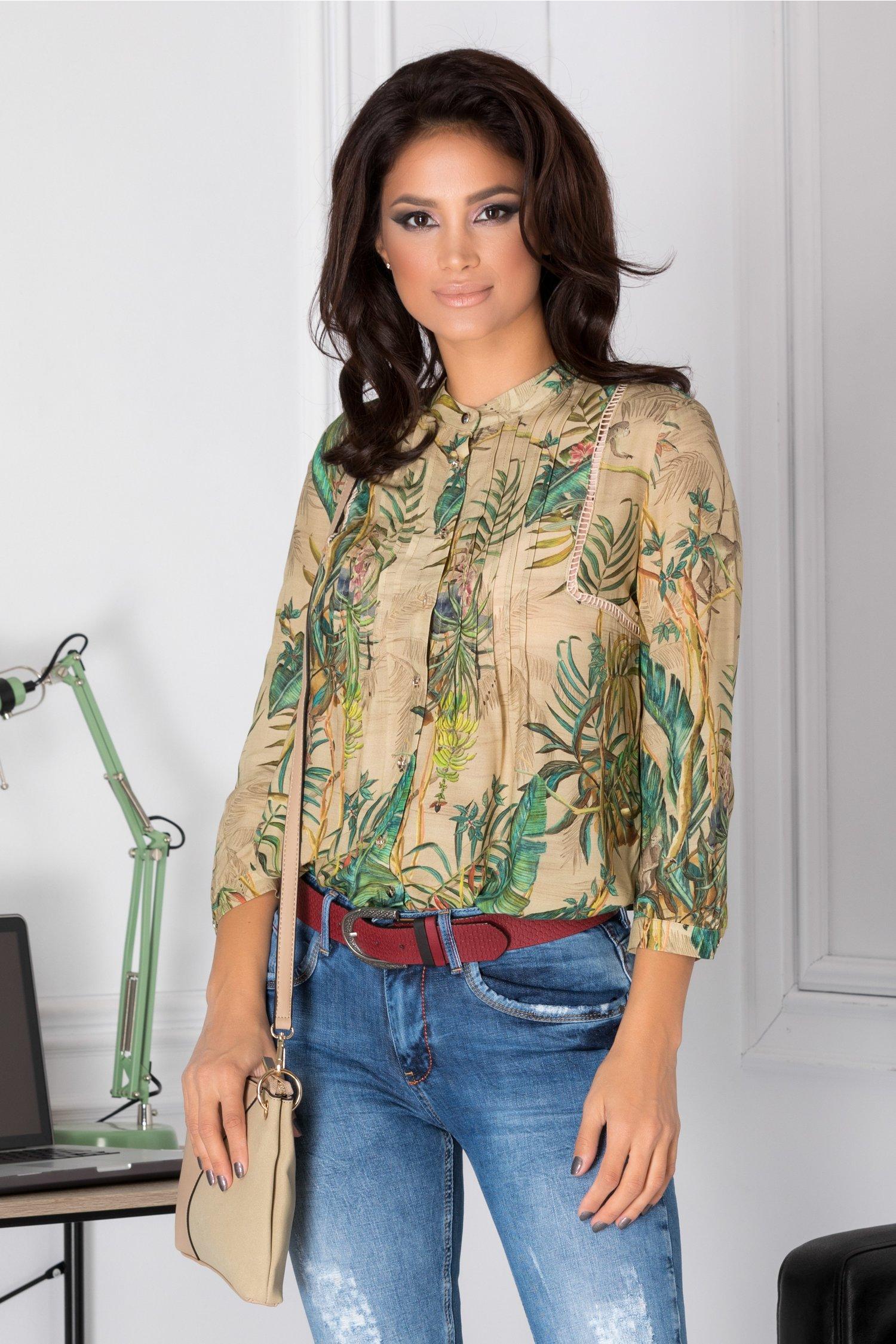 Bluza Minerva bej cu imprimeu tropical