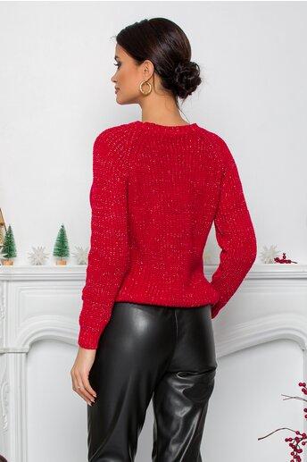 Bluza Minnie rosie din tricot cu insertii din fir lurex