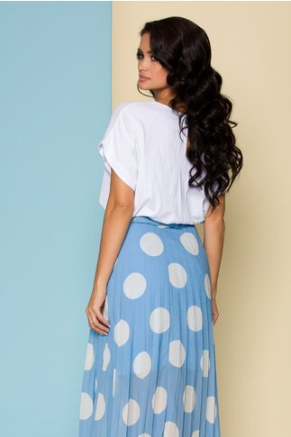 Bluza Moira alba cu imprimeu floral si mesaj