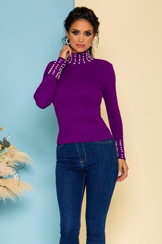Bluza mov cu aspect tricotat accesorizata cu perlute albe