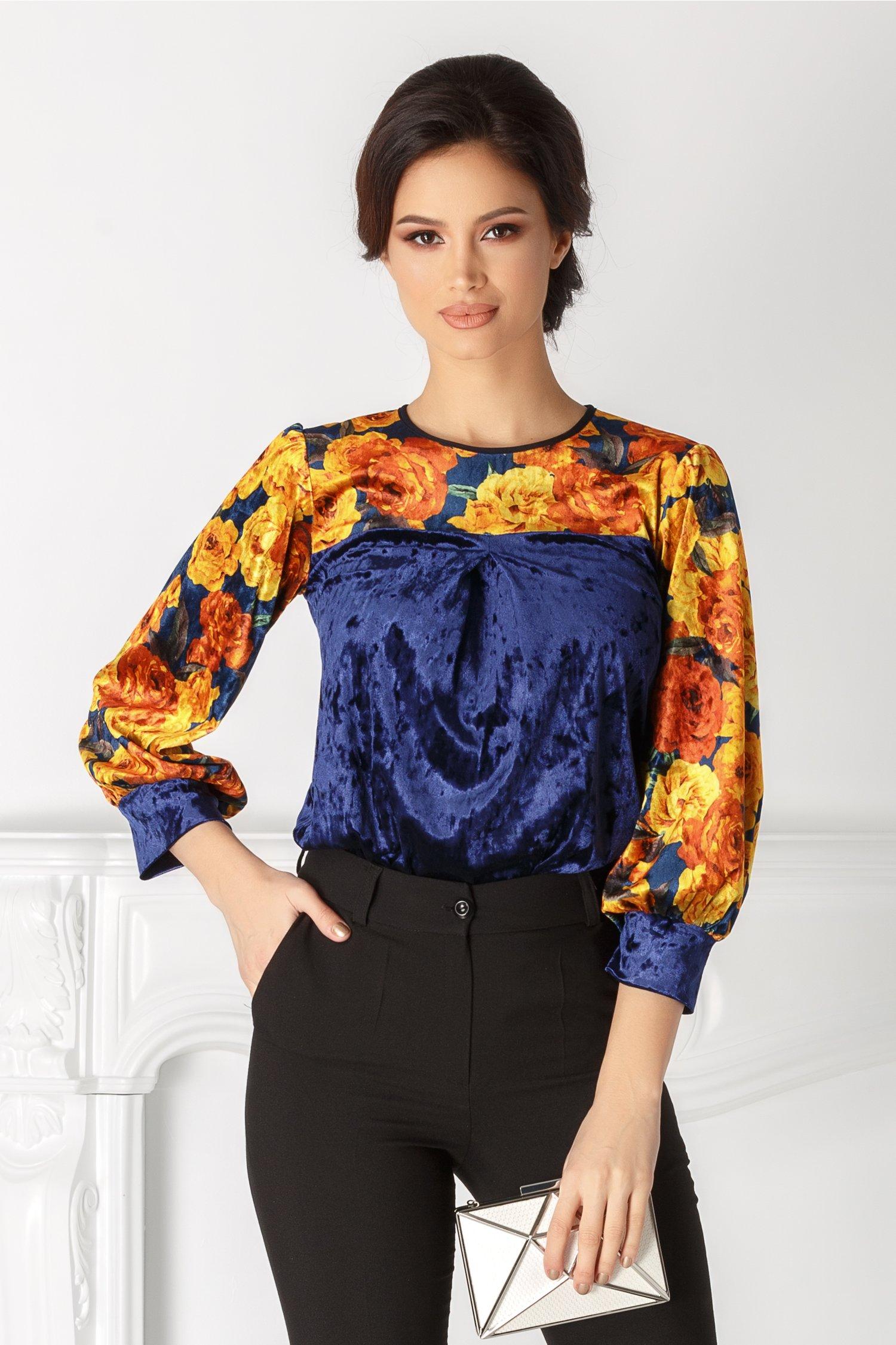 Bluza Moze albastra cu print floral galben thumbnail