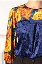 Bluza Moze albastra cu print floral galben