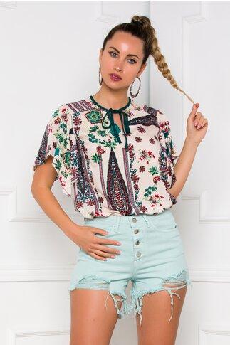 Bluza Moze beige cu imprimeu floral in nuante de verde si rosu