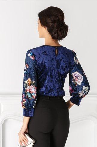 Bluza Moze bleumarin cu print floral