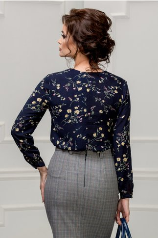Bluza Moze Bono bleumarin cu imprimeu floral