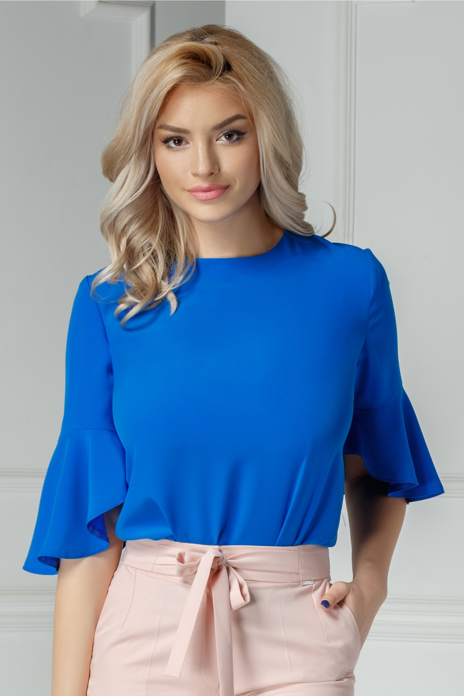 Bluza Moze Camil albastra cu funda la spate