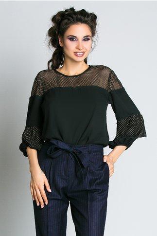 Bluza Moze din Voal Negru Eleganta Office