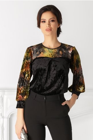 Bluza Moze neagra cu print floral aramiu