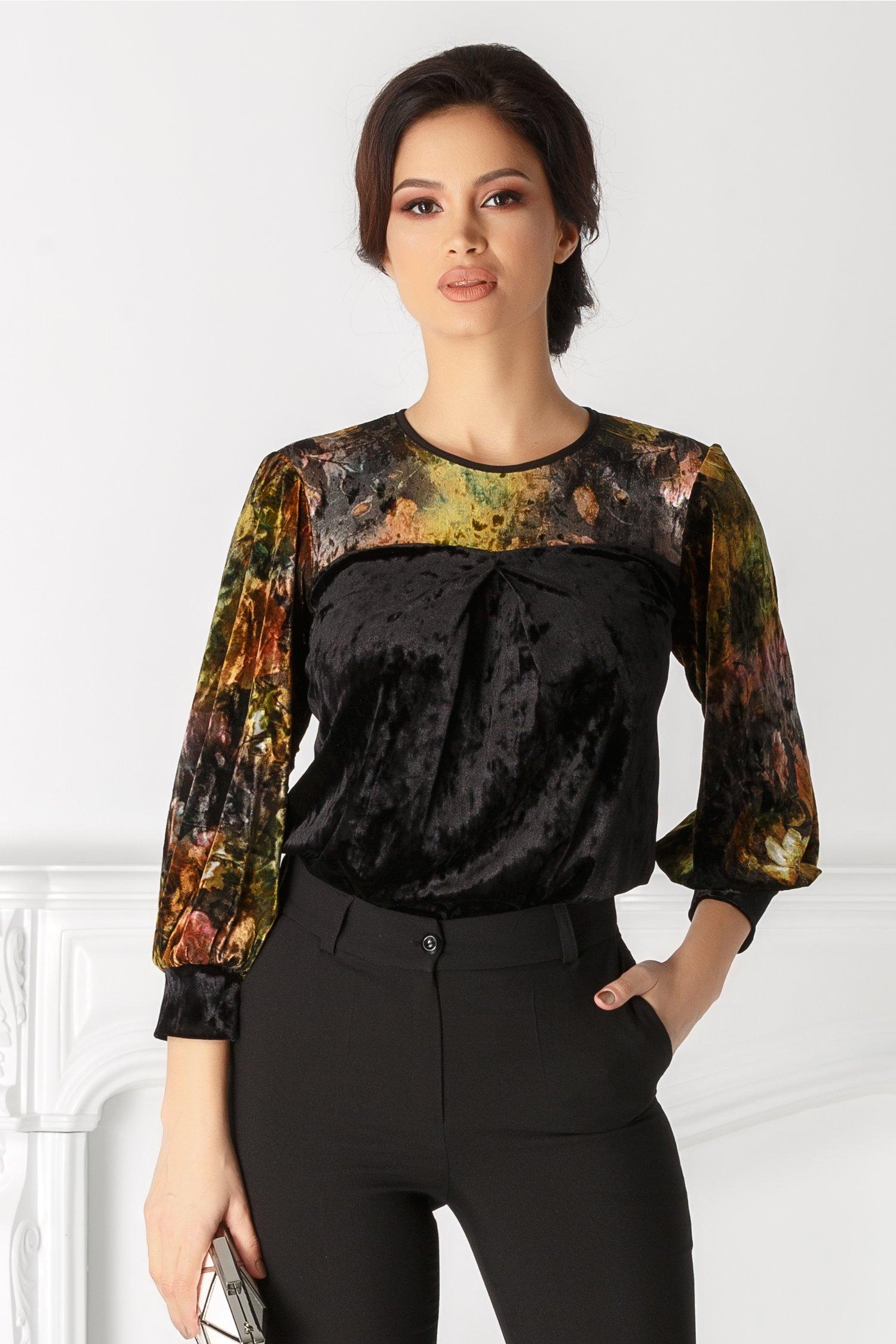 Bluza Moze neagra cu print floral aramiu thumbnail