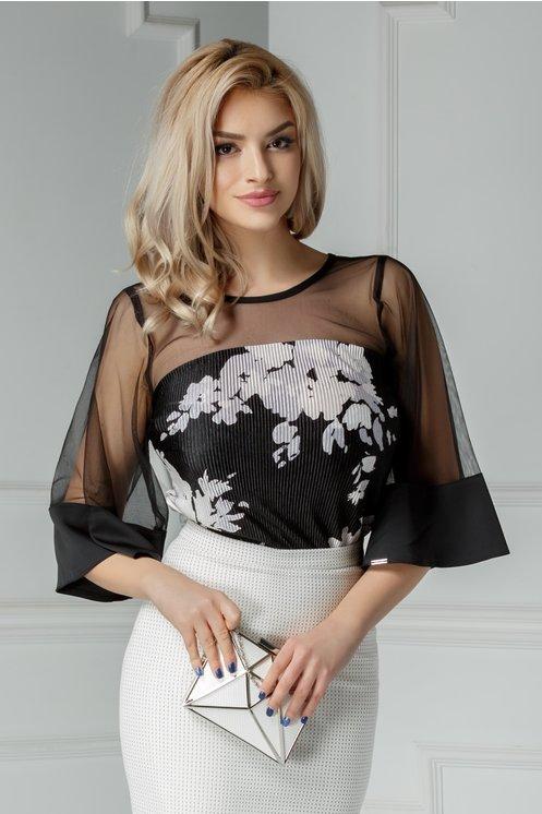 Bluza Moze Vania neagra cu imprimeu
