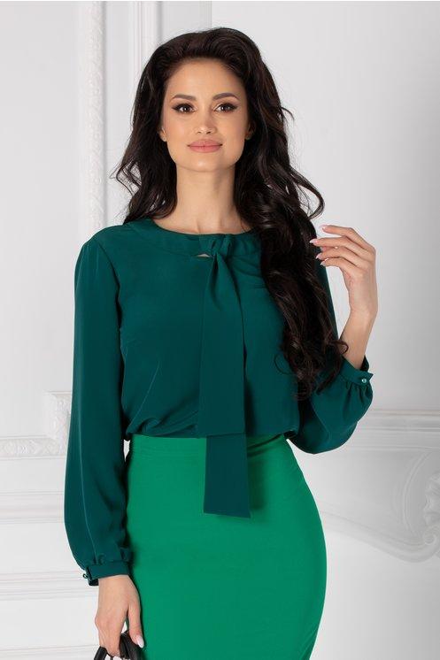 Bluza Moze verde cu esarfa tip cravata