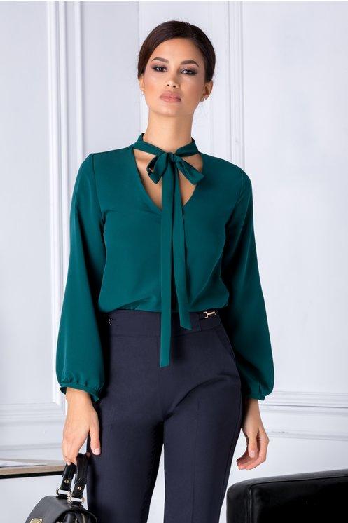 Bluza Moze verde eleganta