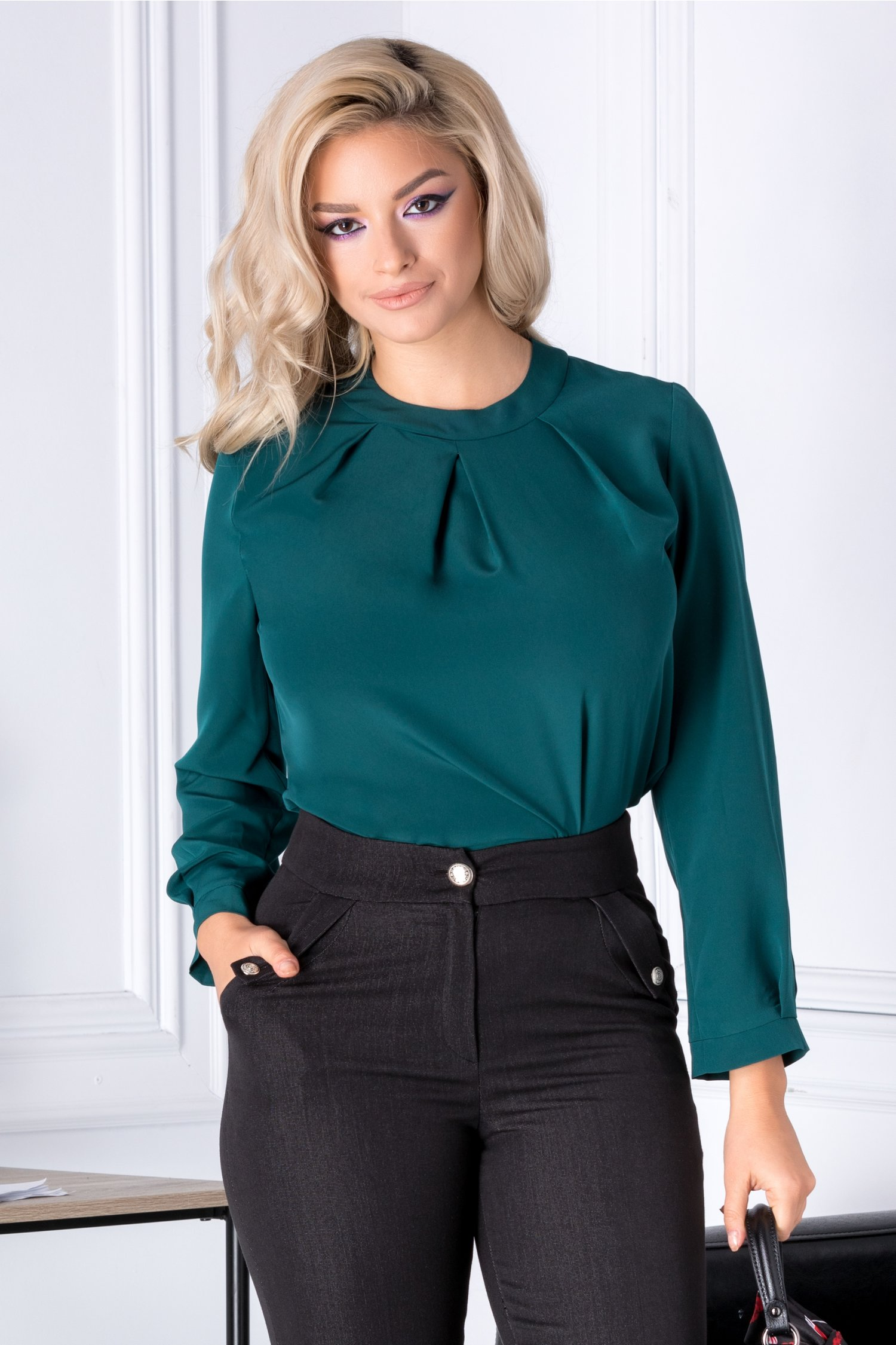 Bluza Moze verde eleganta cu pliuri