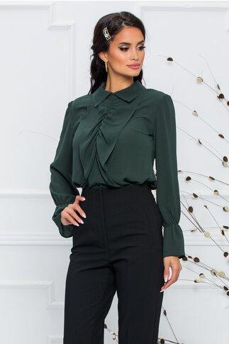 Bluza Moze verde inchis accesorizata cu volanase