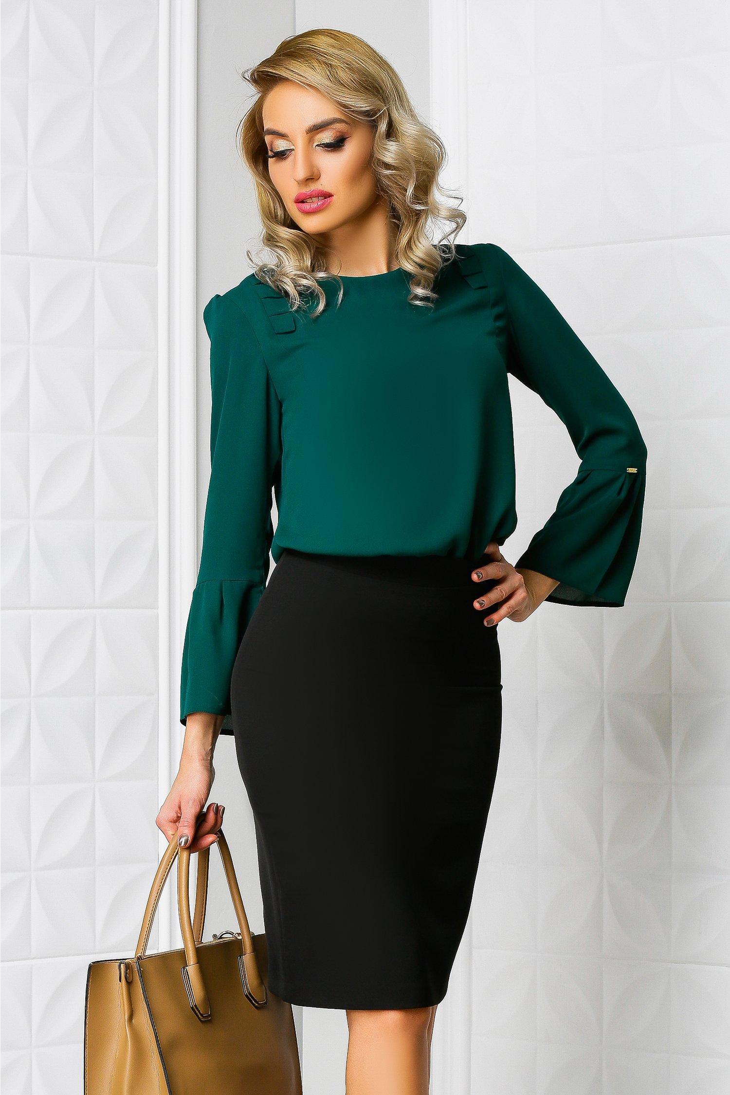 Bluza Moze verde office cu volanase eleganta