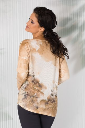 Bluza Nadia galbena cu imprimeu in degrade si broderie la bust