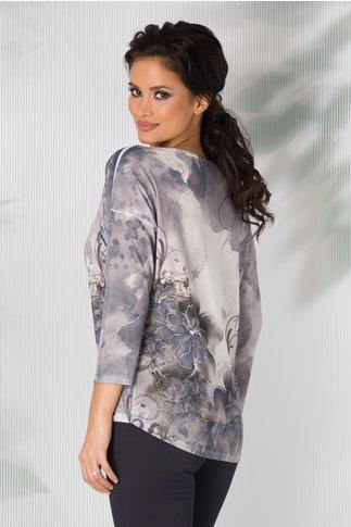 Bluza Nadia gri cu imprimeu in degrade si broderie la bust