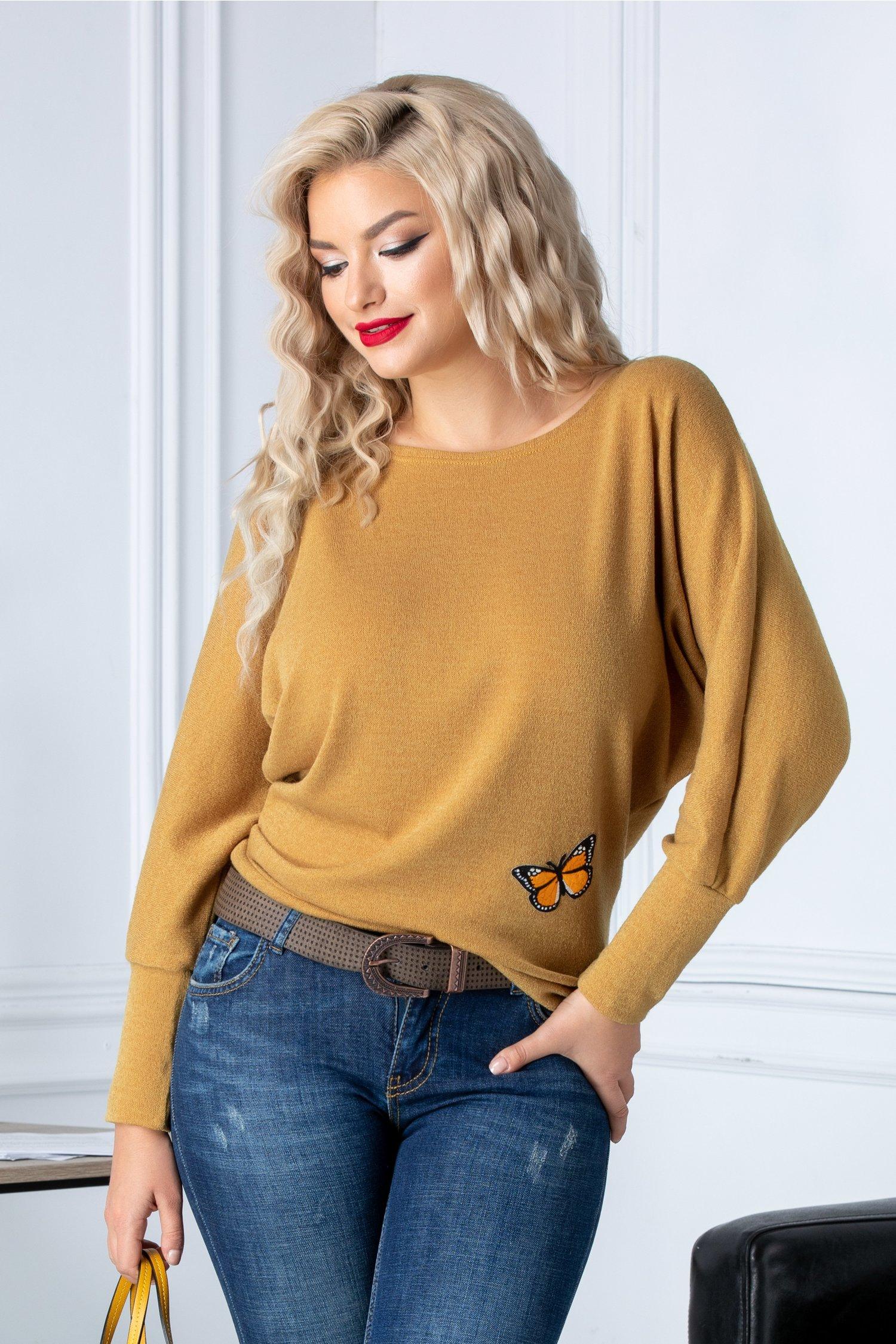Bluza Natalee galben mustar cu insertie fluture la baza