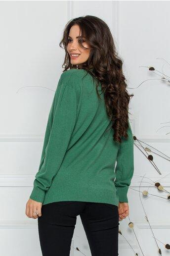 Bluza Natalia verde cu decolteu in V
