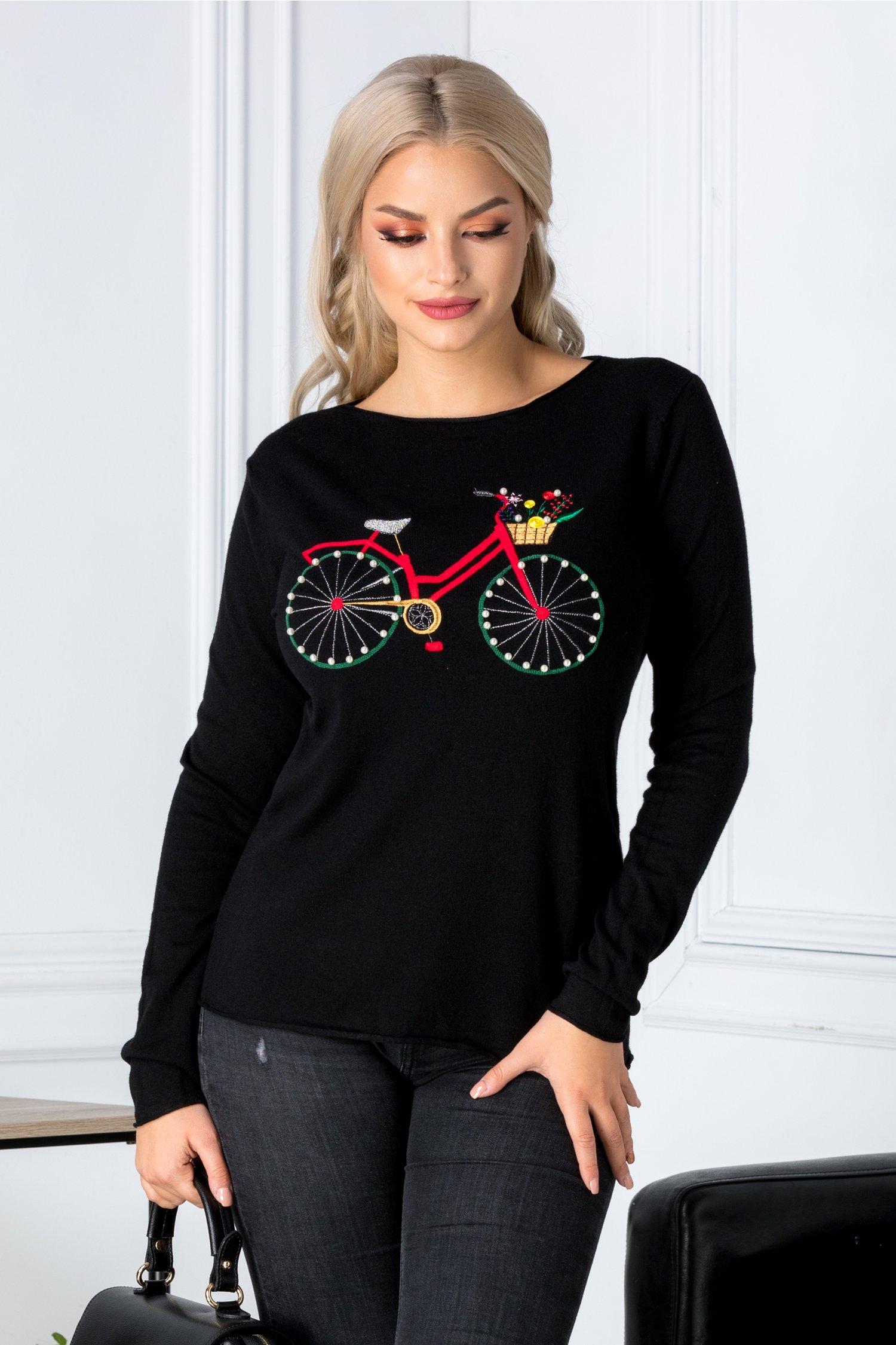 Bluza neaagra cu bicicleta brodata si perlute