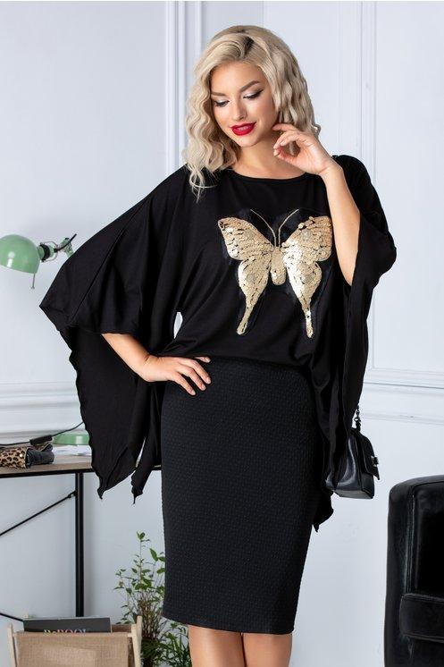 Bluza neagra asimetrica cu insertie fluture cu paiete