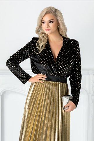 Bluza neagra catifelata tip body cu buline aurii