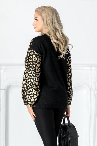 Bluza neagra cu animal print auriu