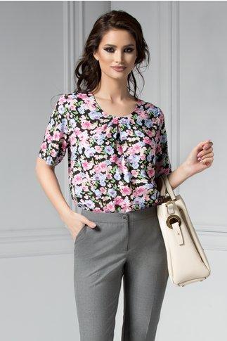 Bluza neagra de zi cu imprimeuri roz albastre