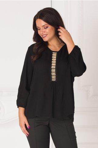 Bluza neagra vaporoasa cu margelute la bust