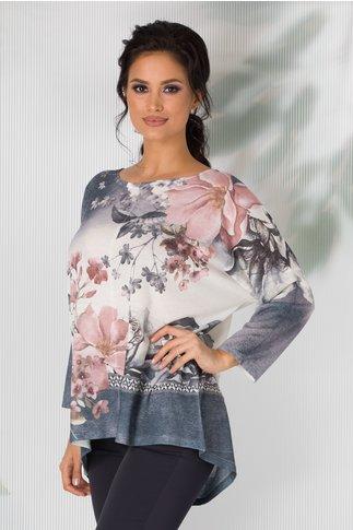 Bluza Nicoleta gri cu alb in degrade si imprimeu floral
