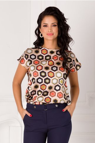Bluza Nidia bej cu imprimeuri geometrice colorate