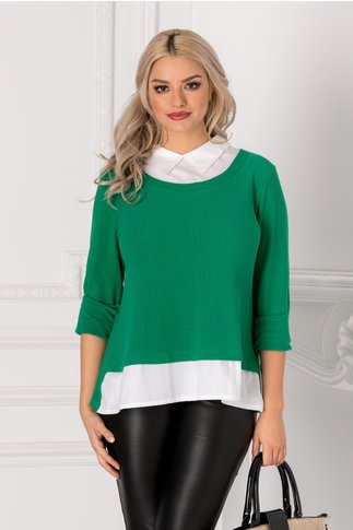 Bluza Ninna verde cu guler si baza tip camasa