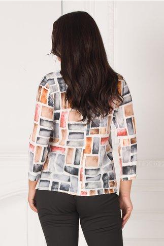 Bluza Noemi ivoire cu imprimeu geometric multicolor
