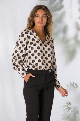 Bluza Norma bej cu imprimeu cu buline mari negre