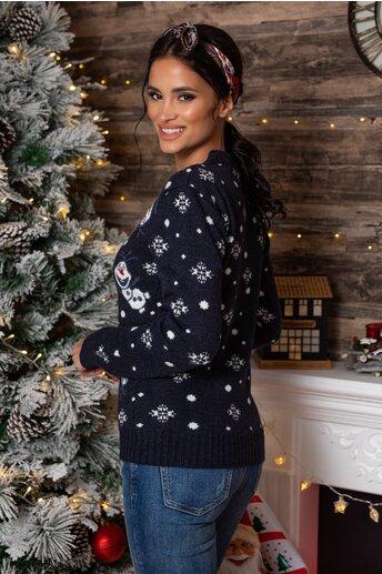 Bluza Olaf bleumarin cu imprimeu de iarna