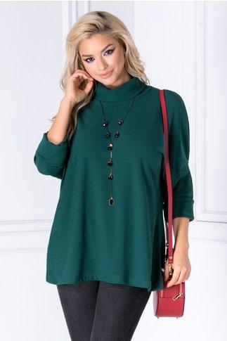 Bluza Oly verde cu guler rulat