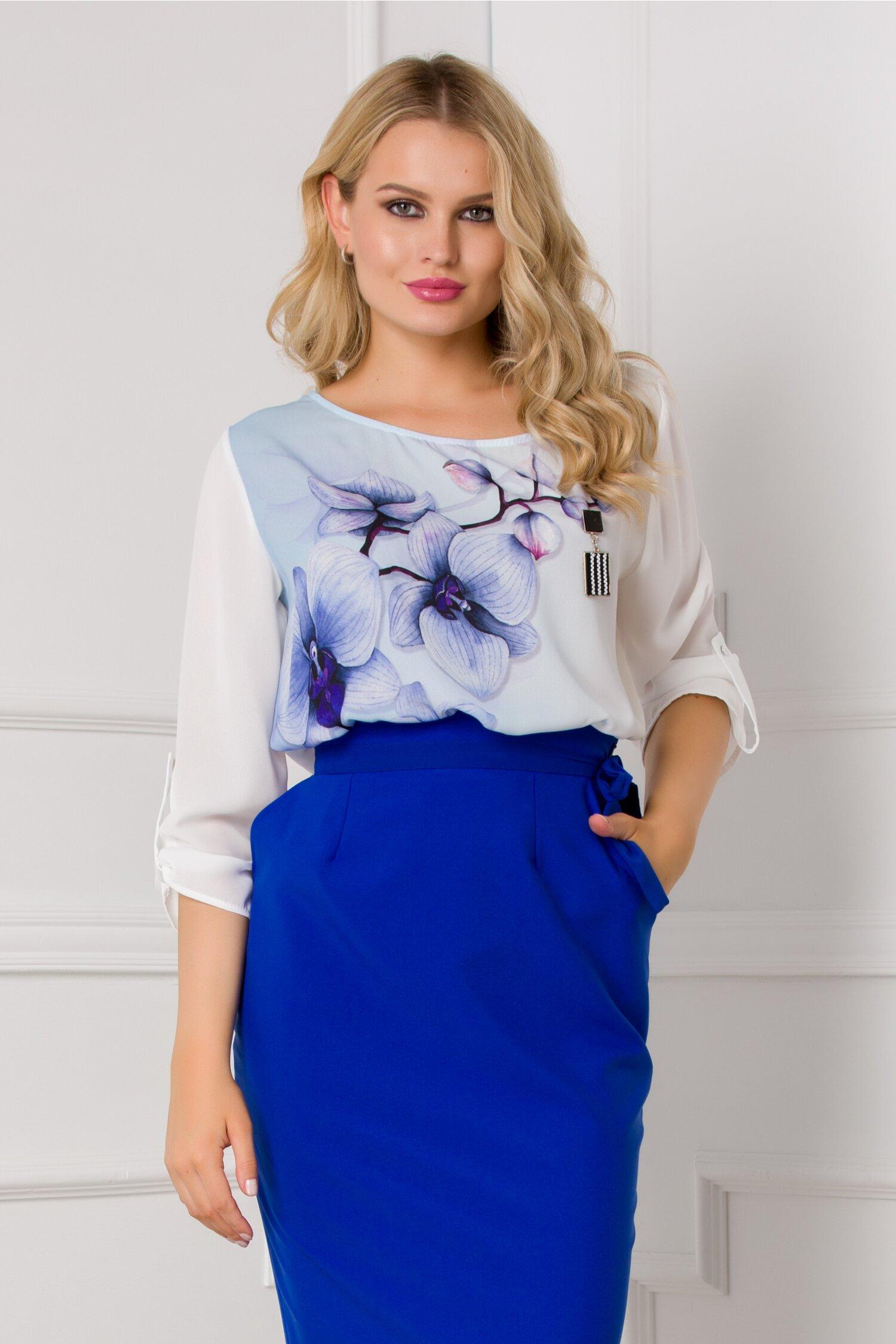 Bluza Orchid alba cu imprimeu albastru