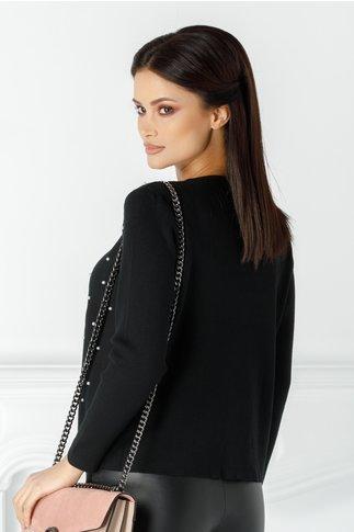 Bluza Pamy neagra cu perlute pe fata