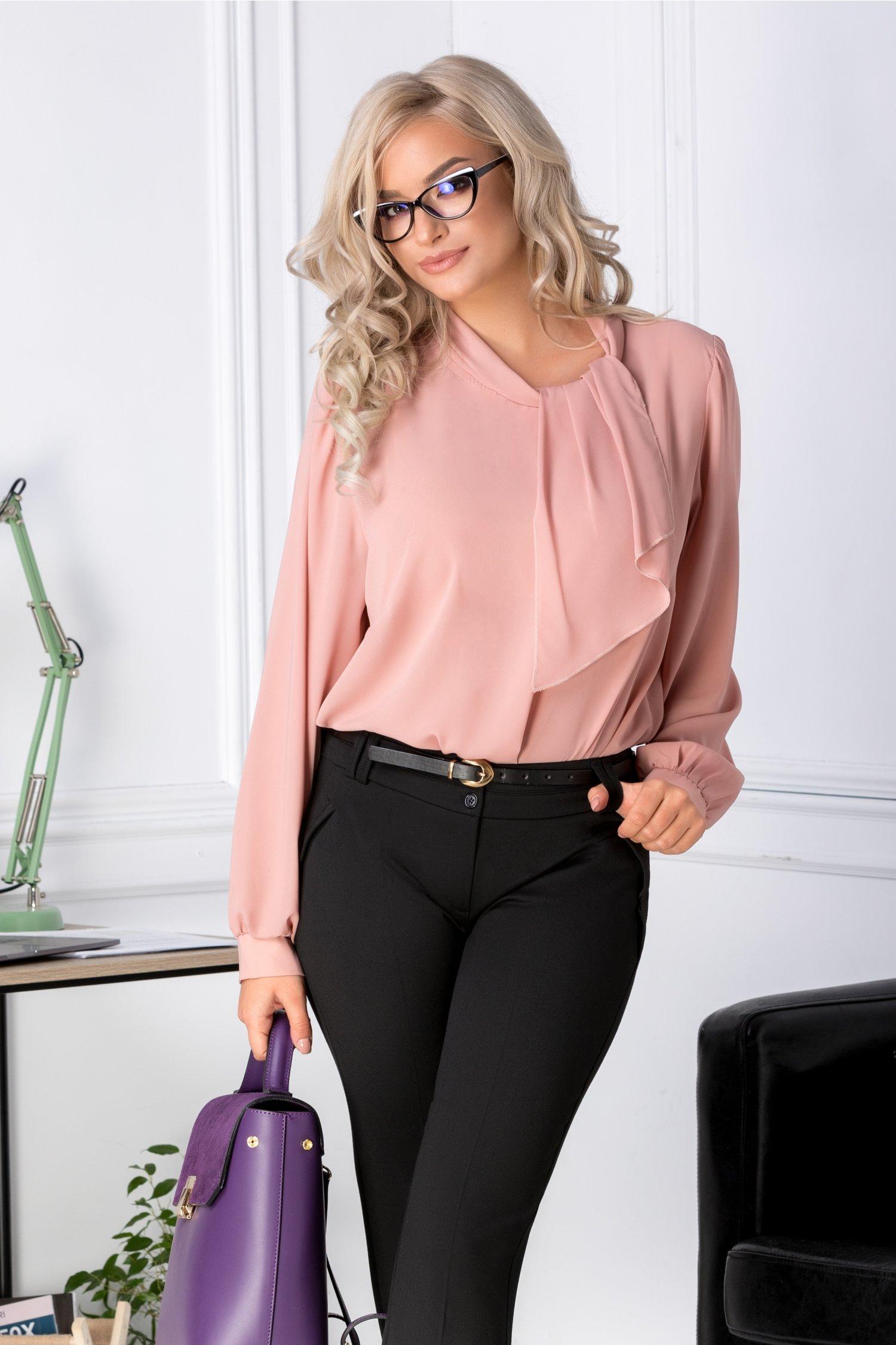 Bluza Pamy roz eleganta din voal