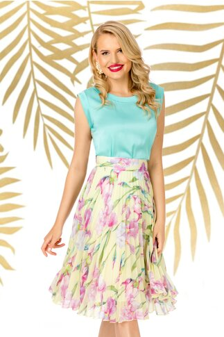 Bluza Pretty Girl aqua cu aspect satinat